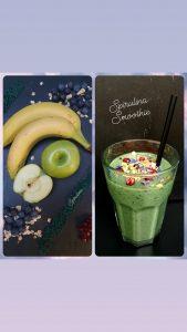 Grüner Smoothie aus Banane, grünem Apfel, Heidelbeeren, Granatapfel und Spirulina mit Blütentopping