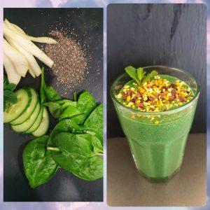 Grüner Smoothie mit Spinat, Gurke, Birne, Minze, Quinoa und Spirulina Granulat