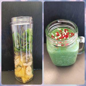 Grüner Smoothie mit Spinat und Spirulina Granulat (Vorher-/Nachherbild)